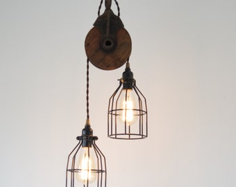 Industrial Barn Pulley Pendant, modern lighting