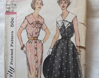 Vintage Women's 1950s Dress Pattern Simplicity 2501 2 skirt options, sz 16.5 B37