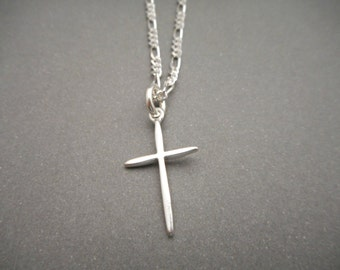 Mens Cross necklace silver  - Mens Jewelry - Religious Gift - Mens Necklace - First Communion Gift - Baptism Gift - Cross Pendant - Charm
