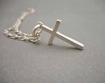 Sterling Silver Cross Necklace - Mens Necklace - Mens Jewelry - Cross Pendant - Cross Charm - Gifts for Him - Religious Gift - Gift for Dad