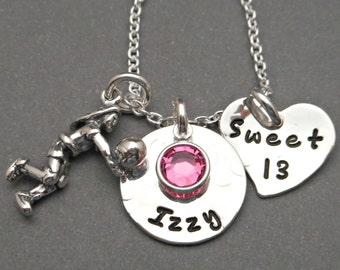 Sweet 13 Necklace - Sweet 13 Jewelry - 13th Birthday Girl - Girls Necklace - Gift for Daughter - Volleyball Necklace - Volleyball Jewelry