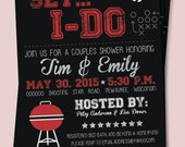 Red and Black Tailgate Football Bridal Shower Invitations  - FREE SHIPPING