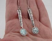 new israel Fab 925 sterling Silver Roman Glass long Earrings (as 243