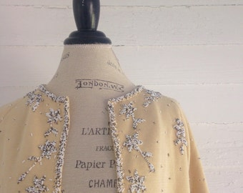 Vintage 50s-60s BEADED Light Yellow Cardigan