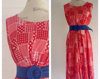 Vintage Red and White NAUTICAL 70s Floral and Polka Dot Dress L