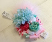 Whimsical Red, Pink & Mint Green floral feather headband/ hairclip