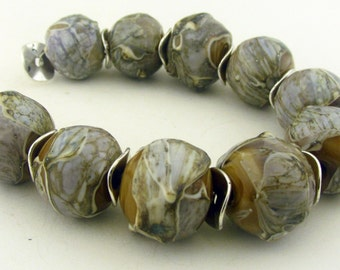 Silvered Ivory Shards over Carmel Lampwork Round Beads Collection (10) - LEteam