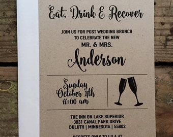 Post Wedding Brunch Invitation, Rustic and Simple, Eat, Drink and Recover Invitation, Custom After Wedding - You choose the number needed