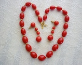 Lipstick Red & Gold Varigated Bead Monet Necklace/Earring Set