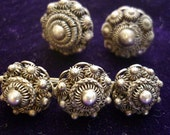 Antique Sterling ornate Beaded Brooch w/ Earrings, Unique and Beautiful Sterling set