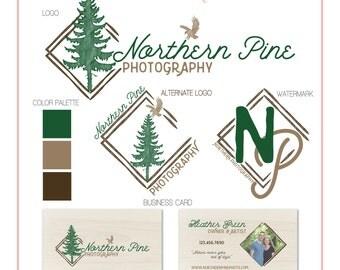 Branding Set - Pine Tree & Eagle - Gold - Logos, Watermark, Business Card - Customizable - Predesigned - Option to retire design