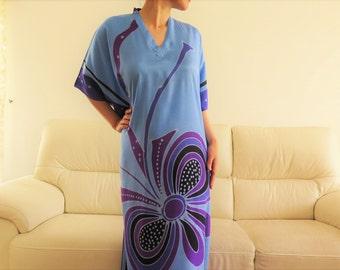 Butterfly in Deep Blue Batik Kaftan