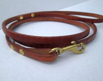Petite leather leash , designer lead , show leash , thin leather leash , handmade leather lead , custom petite leather lead ,