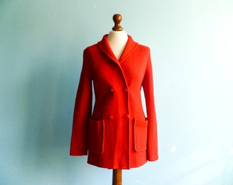 Vintage sweater coat cardigan blazer / bright red / wool woolen / thick warm / fall winter / 60s 70s / medium