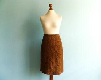 Vintage velvet skirt / brown orange / fall colors / grid check / pencil / high waisted / knee length / small medium