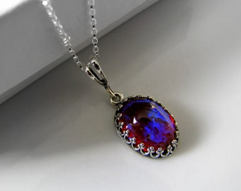 Sterling Silver Dragons Breath Fire Opal Necklace Wiccan Jewelry Gothic Jewelry Fantasy Jewelry Vintage Necklace