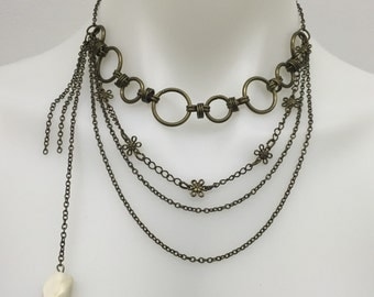 CA multiple Chain Layers Statement Necklace_Vintage Gold W/ White