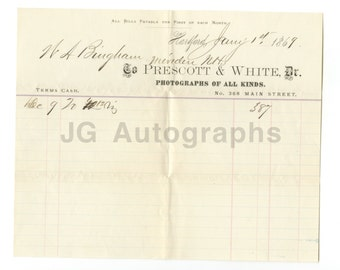 Prescott & White - 19th Century Photographers - Original Cash Receipt