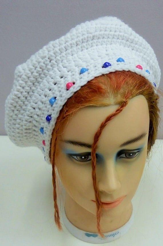 Crochet Hat Patterns With Beads : White Beaded Crochet Slouchy Beanie Hat Women Crochet