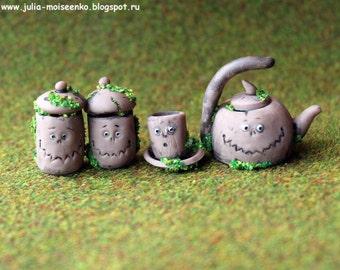 Handmade Miniature Old Tea Set with faces OOAK by Julia Moiseenko