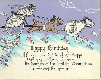 Antique Birthday Postcard with Cat and Scottie Dogs Gay As The Cat's Meow