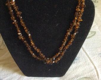 Citrine Strand necklace Sterling silver clasp toggle closure