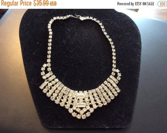 August Sales Rhinestone Necklace Bib Necklace Vintage Rhinestone necklace 1950 stunning