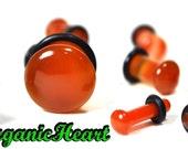 "Carnelian (aka Red Agate) Single Flare Stone Plugs 8g-1/2"" (Sold as Pair) Handmade Body Jewelry Organic Plugs (8g, 6g,4g, 2g, 0g, 00g, 1/2"")"