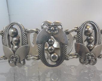 Vintage Art Deco 30mm Wide Bracelet Holly Wreath Jensen Like - Sterling Silver - Safety Chain