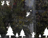 Angels, Trees and Snow Decals - Christmas Wall and Window Decoration, Christmas Ornaments for your Walls, Decals for the Festive Season