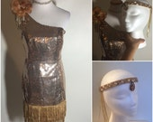 NYE Costume Gold Bronze Sequins Fringe Rhinestone Flapper Dress w Headpiece