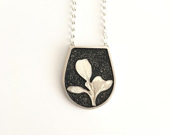 Sterling silver jewelry - Natural silver leaf pendant - black pendant - silver dust