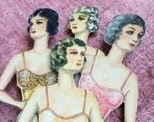 4 Gorgeous Dames Antique Flapper Paper Dolls