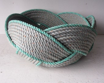 "Unique Rope Bread Basket Bowl 14"" x 8 ""   Centerpiece Nautical Decor Made in Alaska Choose Rope Colors"