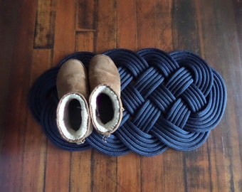 """30 x 15"""" Navy Rope Rug Tightly Woven Knotted New Rope Indoor or Outdoor Door Mat Beach Lake House Coastal Nautical Rustic Lake Marine"""