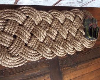 "Beautiful 48"" x 18"" Manila Large Door Mat Knotted Rope Rug Natural Tan Rope Nautical Beach Rustic Marine Ocean"