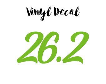 26.2 Car Decal, 26.2 Vinyl Decal, 26.2 Decal, Marathon Decal, Marathon Vinyl Decal, Runner Car Decal, Running 26.2 Decal