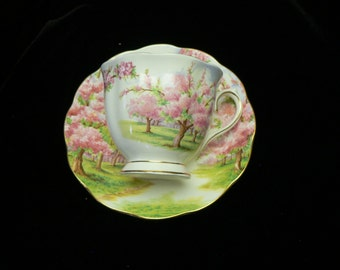 """Vintage Royal Albert """"Blossom Time"""" Bone China Cups and Saucers"""
