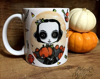 Scarlett pumpkin patch  Mug by Lupe Flores