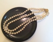 """Vintage Pearl Hand Knotted Double Strand Necklace Gold embellished Clasp 1960s 20"""""""