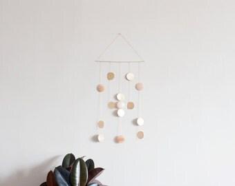 Peach Aventurine + Brass Disc Wall Hanging | Modern Decor