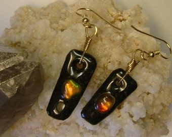 Bright Red to Orange, Green and Gold Fire Ammolite from Utah Deposit Gold Filled Wire Wrapped Earrings 399