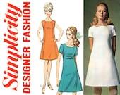 1960s Dress Pattern Bust 36 Uncut Simplicity 7717 Tulip Neckline A Line Princess Seam Day or Evening Dress Mod Womens Vintage Sewing Pattern