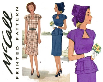 1940s Dress Pattern Bust 30 McCall 6377 A Line Dress Day or Evening Dress Keyhole Neckline Detachable Peplum Womens Vintage Sewing Patterns
