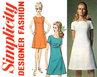 1960s Dress Pattern Bust 36 Uncut Simplicity 7717 Tulip Neckline A Line Princess Seam Day or Evening Dress Mod Womens Vintage Sewing Pattern