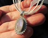 Cute Genuine Moonstone Pendant, 925 Silver, with White Organza Cord