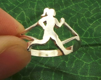 Gifts for runners etsy silver women running ring running jewelry runner gift gifts for runners running negle Image collections