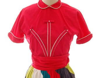 Sweet Vintage Mid Century Cotton Blouse Cherry Red Empress Med 1950s Nice Details