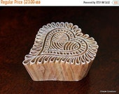 THANKSGIVING SALE Hand Carved Indian Wood Textile Stamp Block- Modern Floral Heart Motif