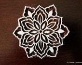 Indian Wood Block Stamp, Tjaps, Hand Carved stamp, Pottery stamp, Textile Stamp- Round Floral, Mandala